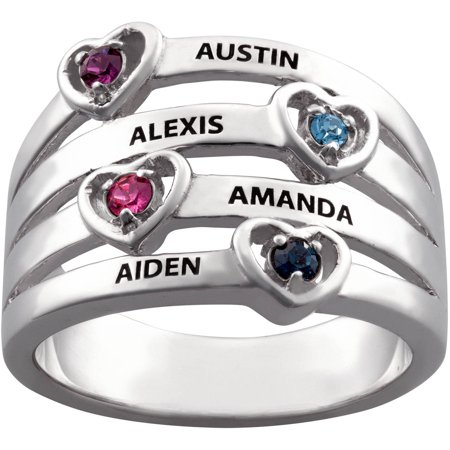 Birthstone Stack Rings (Family Jewelry Personalized Mother's Sterling Silver Name & Heart Birthstone Stack)
