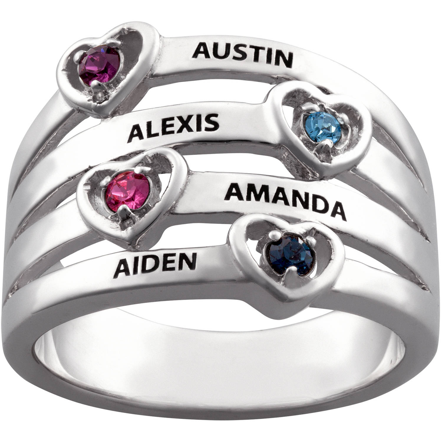Family Jewelry Personalized Mother's Sterling Silver Name & Heart Birthstone Stack Ring