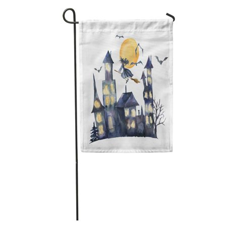 LADDKE Celebration Watercolor Halloween Hand Castle Glowing Windows Bats and Witch Garden Flag Decorative Flag House Banner 12x18 inch