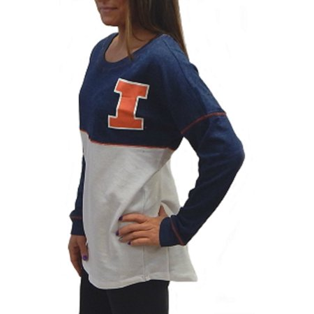 - Illinois Fighting Illini Officially Licensed Logo Junior Fit Drop Yoke Tee French Terry Long Sleeve T-Shirt  (Medium)