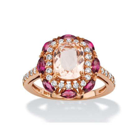 1.01 TCW Cushion-Cut Peach Glass, Rose Rhodolite and CZ Scalloped Halo Cocktail Ring in Rose Gold-Plated Sterling Silver ()