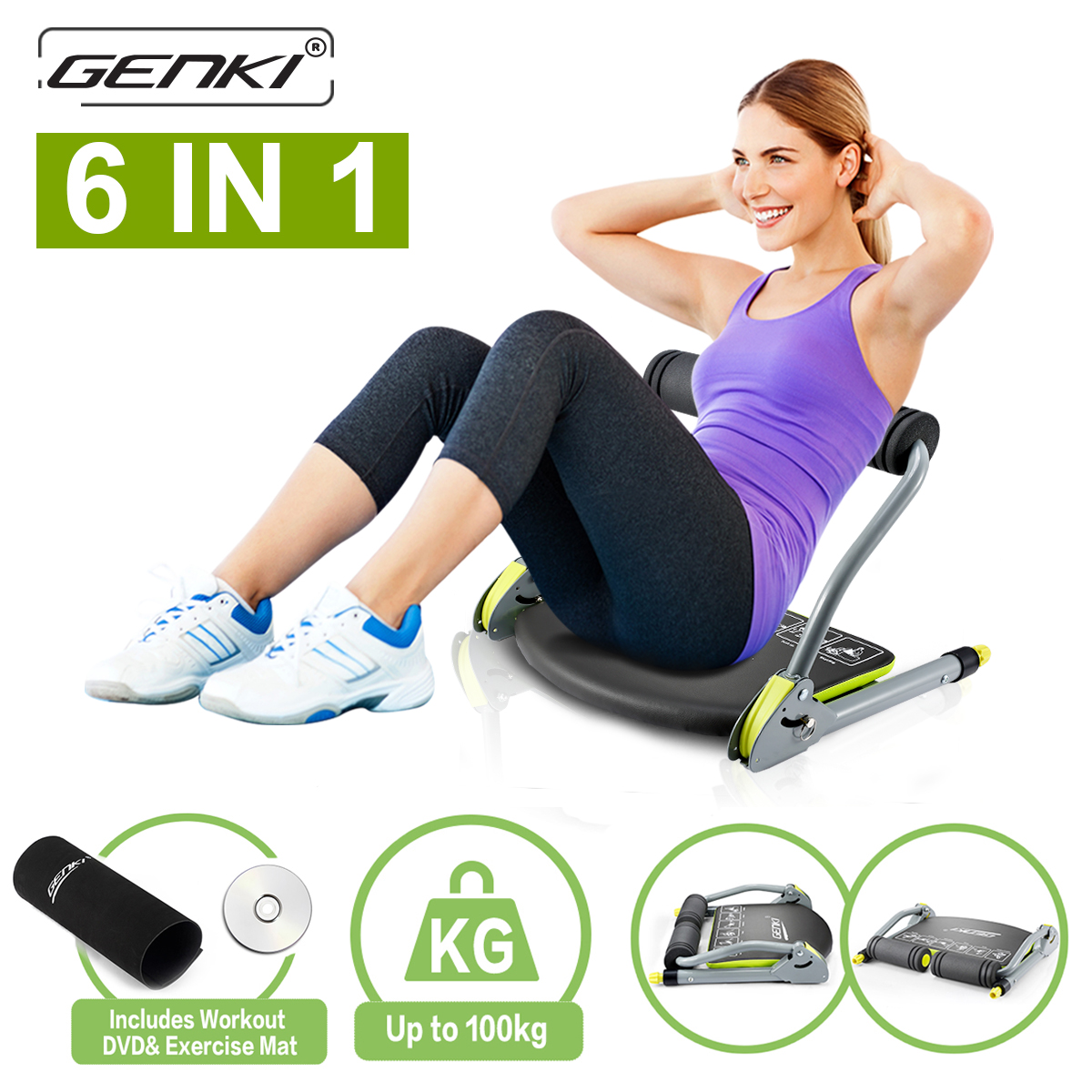 Genki Abs Machine Total Core Exercise Abdominal Trainer Ab Workout Fitness Equipment Sit Ups Crunches 6 In 1 (Exercise DVD Guide and Anti-Skid Pads) For Home Gym