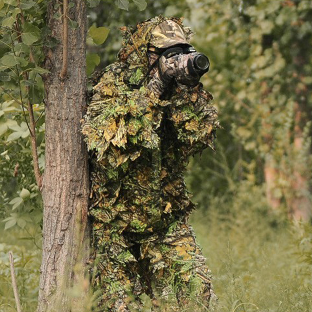 Pratical Camo Camouflage Clothing Leafy Woodland Hunting Camo Jungle Suit Set