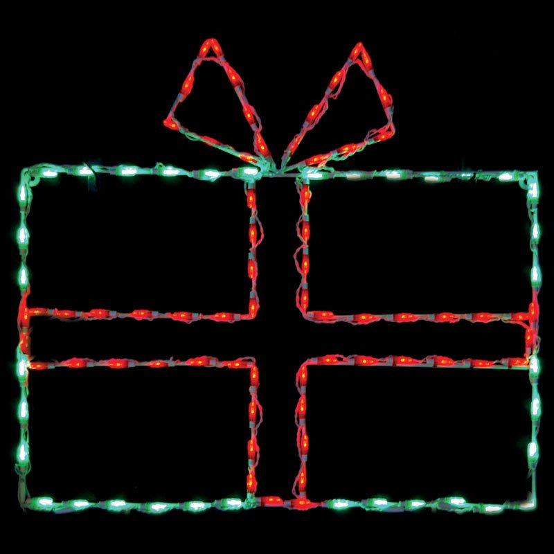 43 in. Outdoor LED Large Gift Box Display - 100 Bulbs