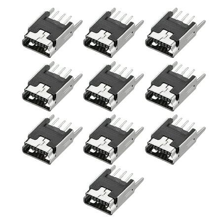 Mini PCB USB Connector 5P Vertical Insert Straight Angle Female Jack 10pcs - image 4 of 4