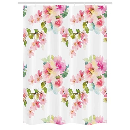 Floral Stall Shower Curtain Watercolor Stylized Shabby Chic Nature Petals In Soft Tones Artsy Picture