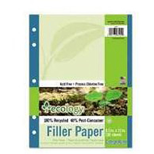 Pacon Ecology Filler Paper, 16-lb, 8-1/2 x 11, College Ruled, White, 150 Sheet Pack