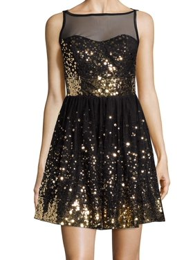 42a89211c551 Product Image Crystal Doll NEW Black Gold Sequin Size 5 Juniors Mesh Flare  Dress