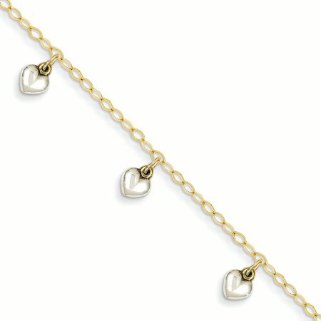 14k Yellow and White Gold Two-tone Polished Dangle Heart Baby Bracelet Length 5.5 Inch - image 2 of 2
