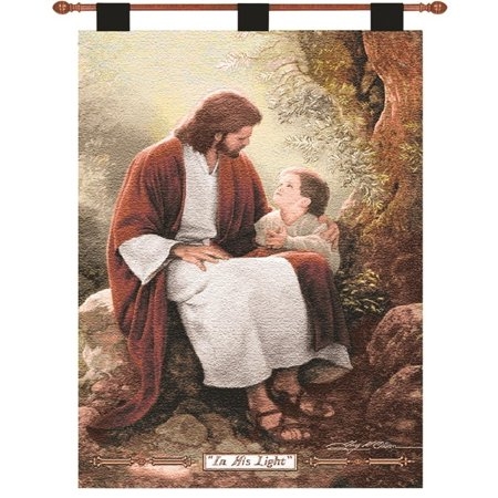 Greg Olsen  In His Light  Pictorial Religious Wall Art Hanging Tapestry 26  X 36