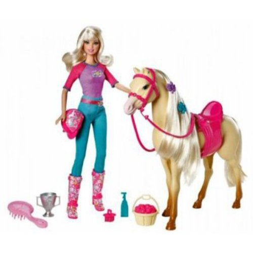Barbie and Tawny Doll & Horse Set with Brush, Riding Hat, and Saddle