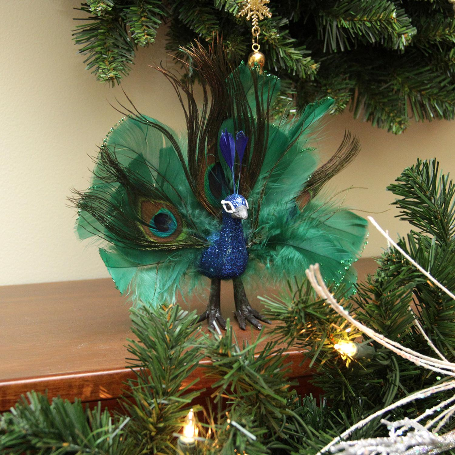 """7"""" Colorful Green Regal Peacock Bird with Open Tail Feathers Christmas Decoration - image 1 of 2"""