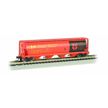 Bachmann Industries Inc. Canadian 4-Bay Cylindrical Grain Hopper Government of Canada - N Scale, Red, Rolling Stock for your N Scale layout By Bachmann Trains