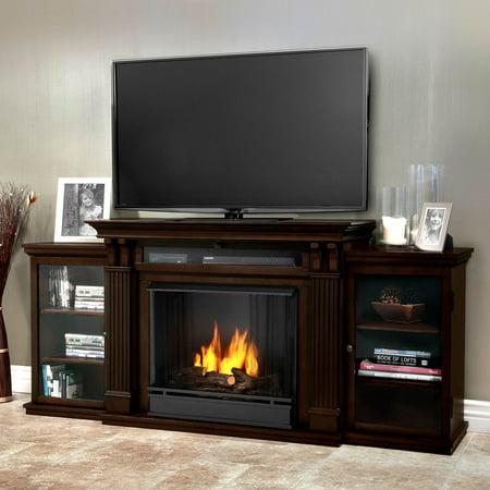 Real Flame Calie Entertainment Center Ventless Gel Fireplace - Dark Walnut