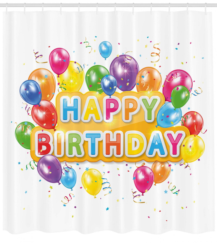 Balloons Happy Birthday Bathroom /& Hooks Waterproof Fabric Shower Curtain Set
