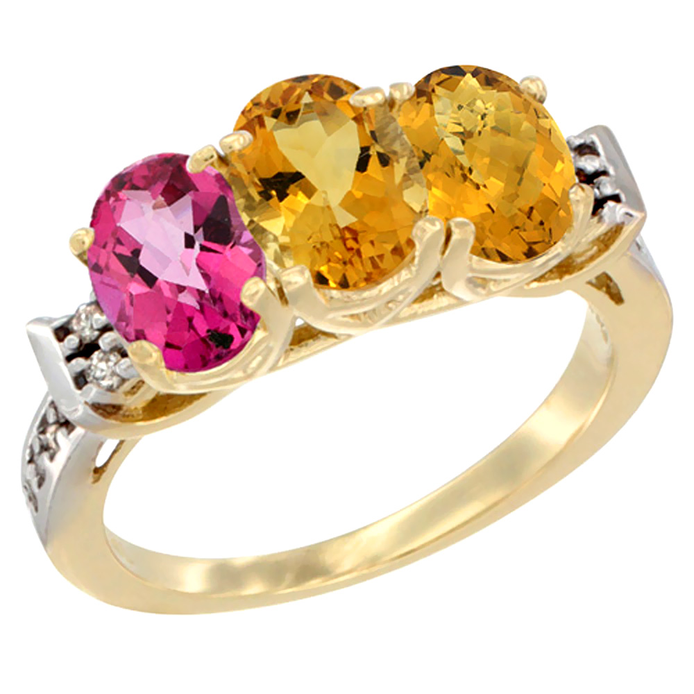 10K Yellow Gold Natural Pink Topaz, Citrine & Whisky Quartz Ring 3-Stone Oval 7x5 mm Diamond Accent, sizes 5 10 by WorldJewels