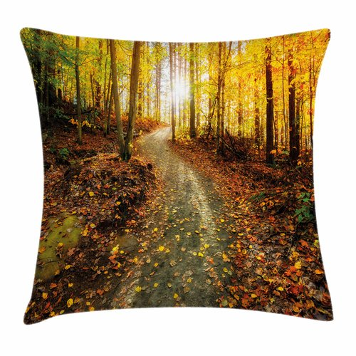 Click here to buy Ambesonne Fall Decor Early Morning Woods Square Pillow Cover by Kozmos.