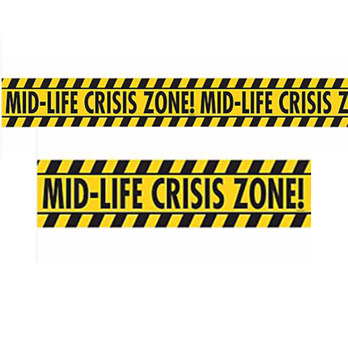 Over the Hill 'Mid-life Crisis Zone' Novelty Caution Tape (45ft)