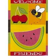 """Welcome Friends Summer Garden Flag Bee Fruit 13"""" x 18"""""""