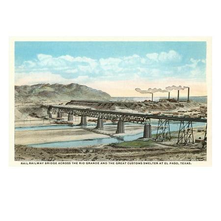 Railway Bridge over Rio Grande, El Paso, Texas Print Wall