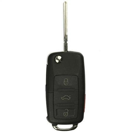 KeylessOption Keyless Entry Remote Control Car Flip Key Fob Replacement HLO1J0959753AM, HLO1J0959753DC for VW Volkswagen ()