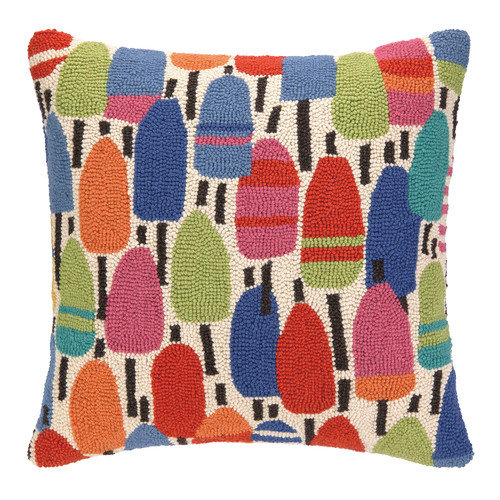 Kate Nelligan Buoys Hooked Wool Throw Pillow