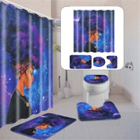 """Meigar African Girl 71"""" x 71"""" Waterproof Fabric Shower Curtain With 3pcs Toilet Cover Mats Non-Slip Rugs Bathroom Sets Doormat Home Decor Gifts,Multi-Pattern"""