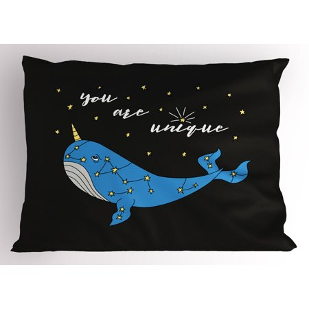 Narwhal Pillow Sham Cute Hand Drawn Cartoon Character Star Patterned Narwhal with Inspirational Quote, Decorative Standard Size Printed Pillowcase, 26 X 20 Inches, Multicolor, by Ambesonne - Cartoon Hands