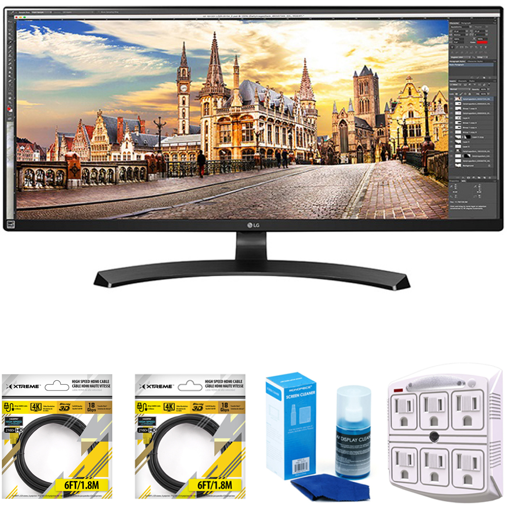LG 29-Inch UltraWide FHD 2560 x 1080 IPS Monitor (29UM59A-P) with 2x 6ft High Speed HDMI Cable Black, Universal Screen Cleaner for LED TVs Large Bottle & SurgePro 6-Outlet Surge Adapter