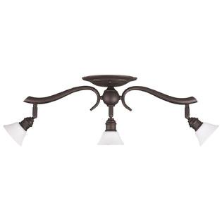 Oil Rubbed Bronze 3 Bulb Wall Mount Track Light Fixture with Frosted Opal Glass ()