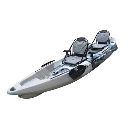 BKC UH-TK122 Coastal Cruiser 12.9-Foot Tandem 2-3 Person Sit On Top Fishing Kayak- Up-Right Seats and Paddles Included -  Brooklyn Kayak Company, UH-TK122-GRY