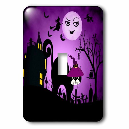 3dRose Black Cat in a Witches Hat a Laughing Moon Purple and Black Halloween, 2 Plug Outlet Cover