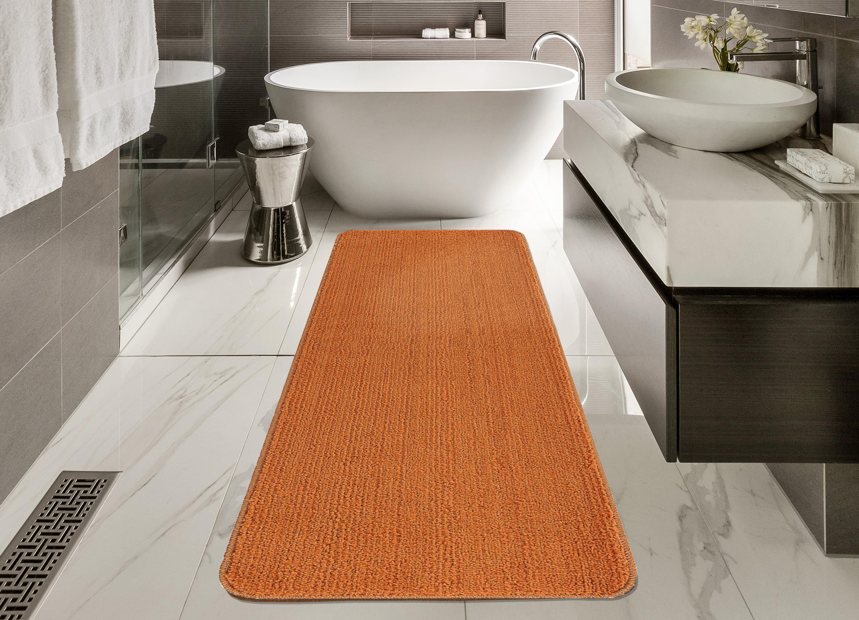 Orange /& Red Stripe Bathroom Pedestal Mat 100/% Cotton Non Slip Machine Washable