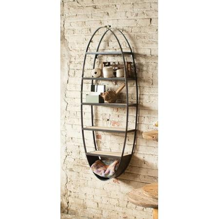 Decorative Rustic 5 Feet Tall Oval Shaped Wall Shelf Unit