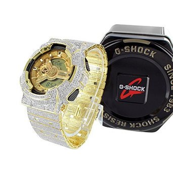 Fully Iced Out Simulated Diamond 16.5 Ct Authentic G-Shock G100-110 Mens (Iced Out G-shock Watch)