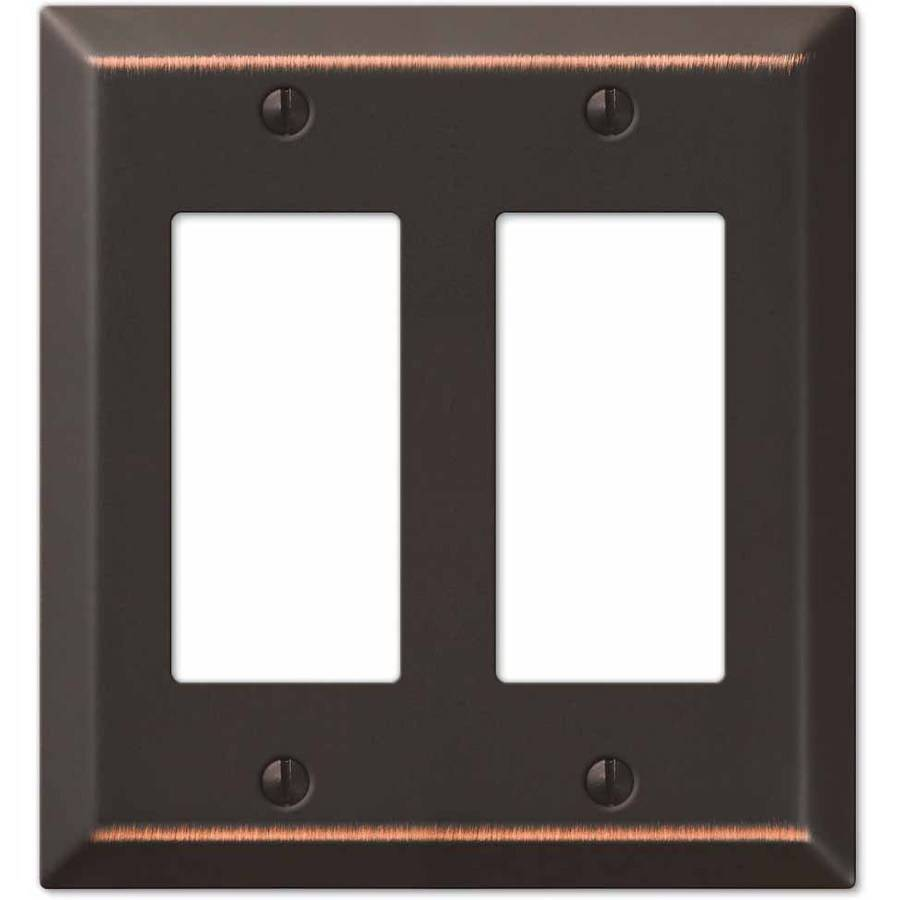 Century Aged Bronze Steel Double Rocker Wallplate