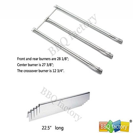 Image of bbq factory Replacement Stainless Steel Burner JBX08 and Stainless Steel heat plate JBX37 for Weber Models: Genesis Silver B & C, Genesis Gold B & C, (2002 & Newer Models); Spirit 700 Gas Grill