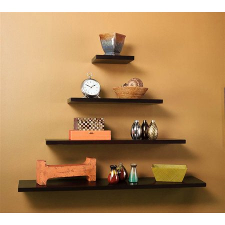 Aspen 4 Pc Floating Shelf Set Espresso