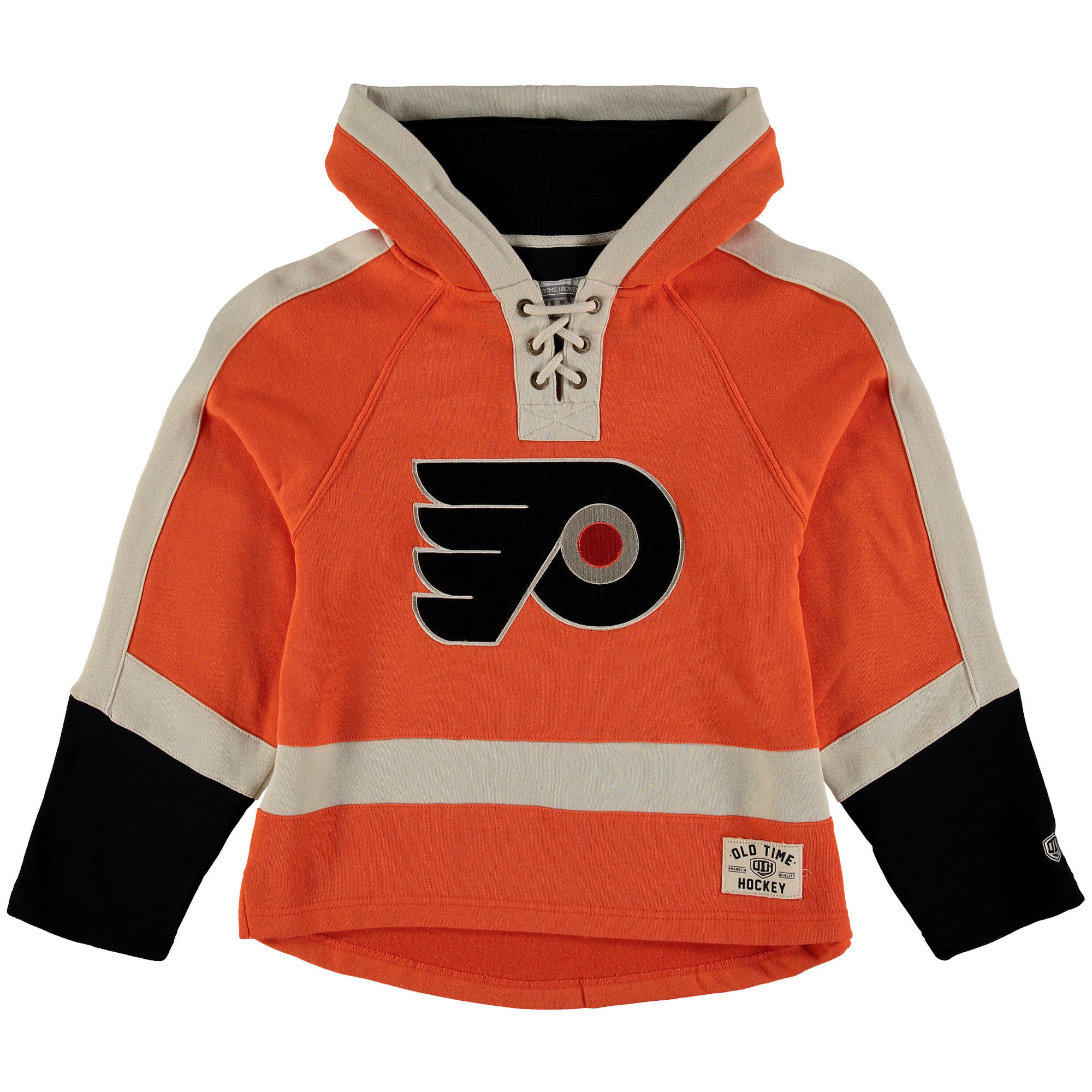 Philadelphia Flyers Old Time Hockey Youth Current Lacer Heavyweight Hoodie Orange by Old Time Hockey