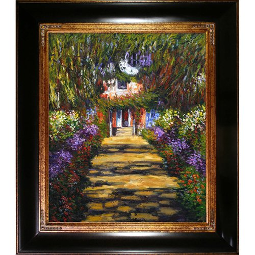 Wildon Home 'Garden Path at Giverny' Canvas Art by Claude Monet Impressionism in Opulent Frame