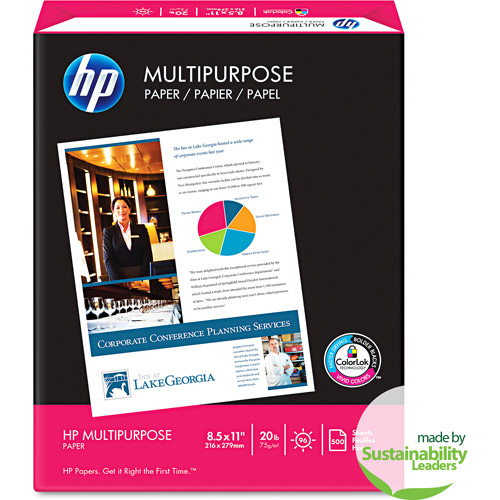 HP Multipurpose Paper, 96 Brightness, 20 lb, 8 1/2 x 11, White, 500 Sheets