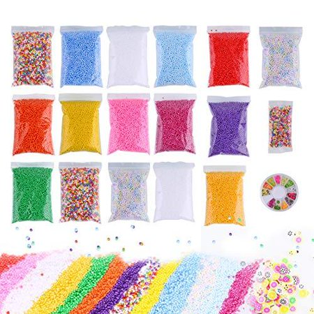 Slime Foam Beads Floam Balls – 18 Pack Microfoam Beads Kit 0.1-0.14 inch (90,000 Pcs) Micro Colors Rainbow Fruit Beads Craft Add ins Homemade DIY Kids Ingredients Flote Microbeads - Easy Homemade Crafts For Halloween