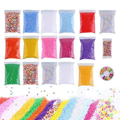 Slime Foam Beads Floam Balls – 18 Pack Microfoam Beads Kit 0.1-0.14 inch (90,000 Pcs) Micro Colors Rainbow Fruit Beads Craft Add ins Homemade DIY Kids Ingredients Flote Microbeads Suppli - Diy Recycled Halloween Crafts