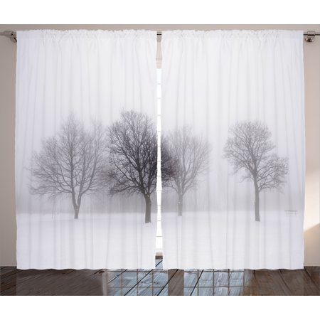 Winter Decorations Curtains 2 Panels Set, Foggy Winter Scene with Leafless Tree Branch in Hazy Weather Artsy Print, Window Drapes for Living Room Bedroom, 108W X 90L Inches, Grey White, - Decoration Curtains