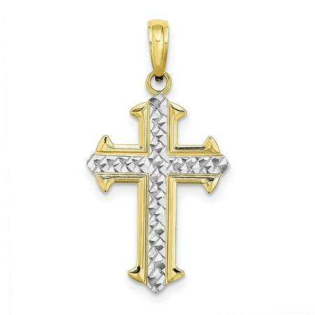 10k Gold Cross Pendant (10k Yellow Gold Rhodium Plated D/C Cross Pendant )