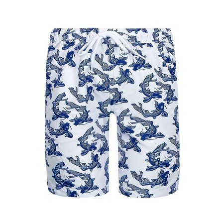 Sun Emporium Boys Navy White Koi Fish Sun Protective Board Shorts