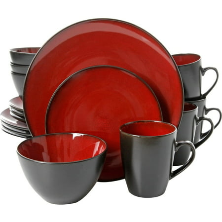 Gibson Home Soho Lounge Round 16 Piece Dinnerware Set, Burgundy - 11