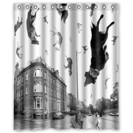 GreenDecor Raining Cats And Dogs Waterproof Shower Curtain Set With