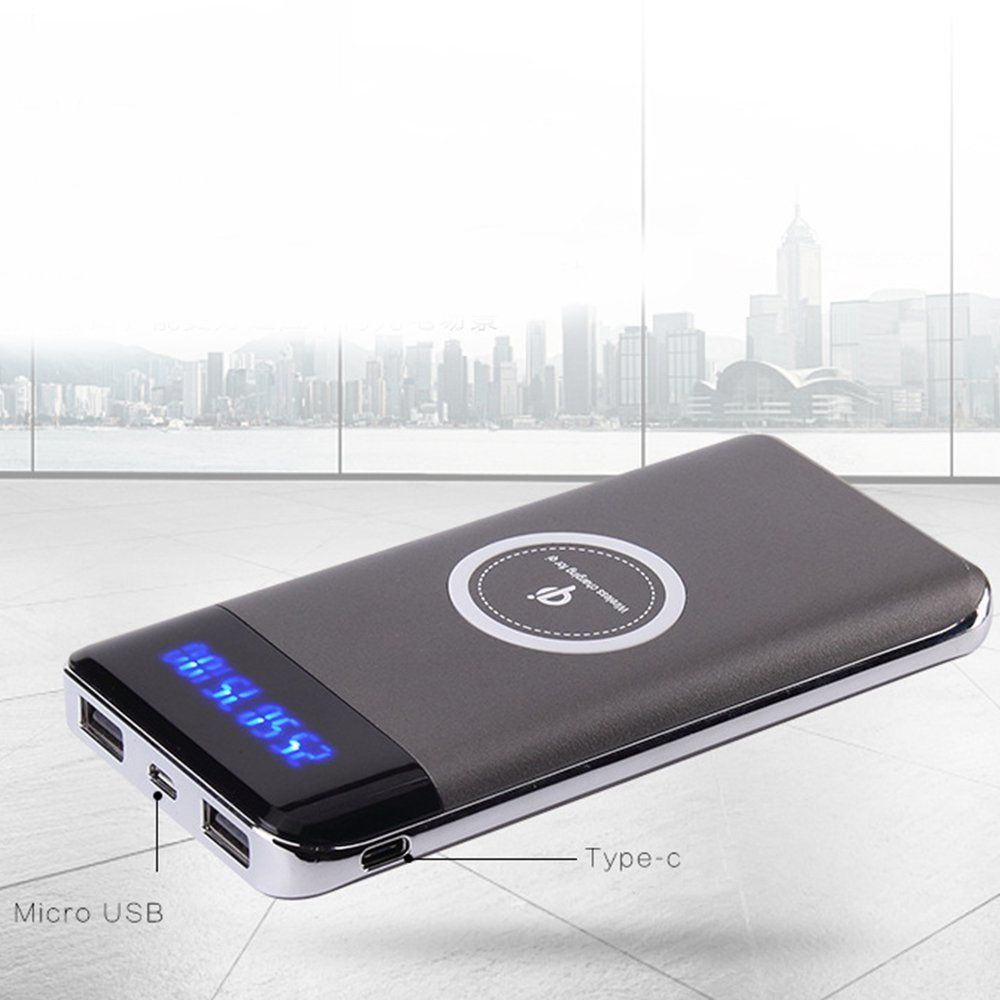 500000mAh Power Bank Qi Wireless Charging 2 USB LED Portable Battery Charger(Gray)