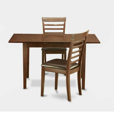 East West Furniture Norfolk 3 Piece Straight Ladder Back Dining Table Set ()